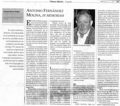 Antonio Fernández Molina, in memoriam por FERMÍN EDERRA ANDÍA