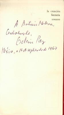 Dedicatoria de Octavio Paz a Antonio Fernández Molina