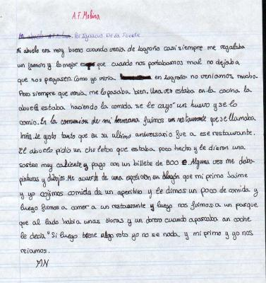Ignacio de la Fuente (8 años) escribe sobre su abuelo A. F. Molina
