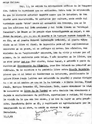 Carta de Juan Eduardo Cirlot a Antonio Fernández Molina