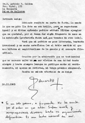 Carta de Juan Eduardo Cirlot a Antonio Fernández Molina sobre Antología de poesía cotidiana
