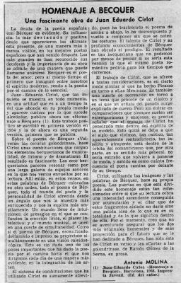 Homenaje a Bécquer (Artículo de A. F. Molina)