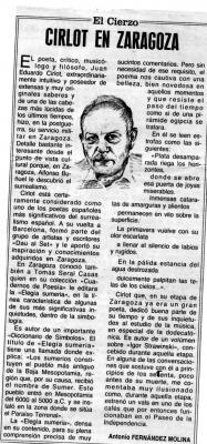 Cirlot en Zaragoza (Artículo de Antonio Fernández Molina)