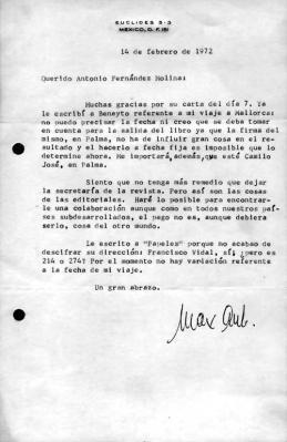 Carta de Max Aub