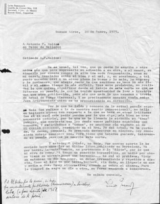 Carta de Luisa Pasamanik