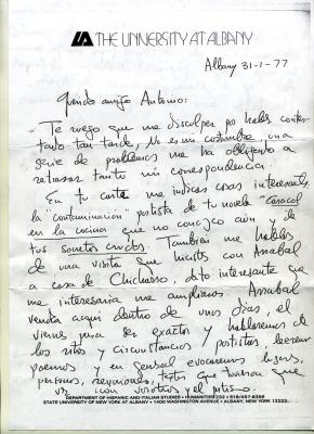 Carta de José Polo de Bernabé, University At Albany (31-1-1977), I